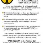 AMPA El Catón convoca una acción de protesta el lunes 21 de enero contra el cierre de la escuela pública municipal
