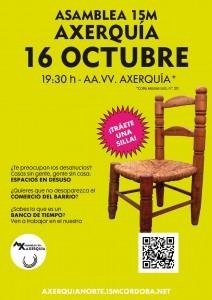 Cartel Asamblea 16 Octubre 2013. Orden del día: espacios en desuso, comerdo de barrio y banco del tiempo.
