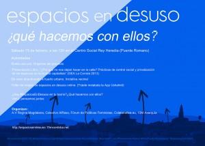 Cartel Actividad Espacios en Desuso en el Centro Social Rey Heredia.